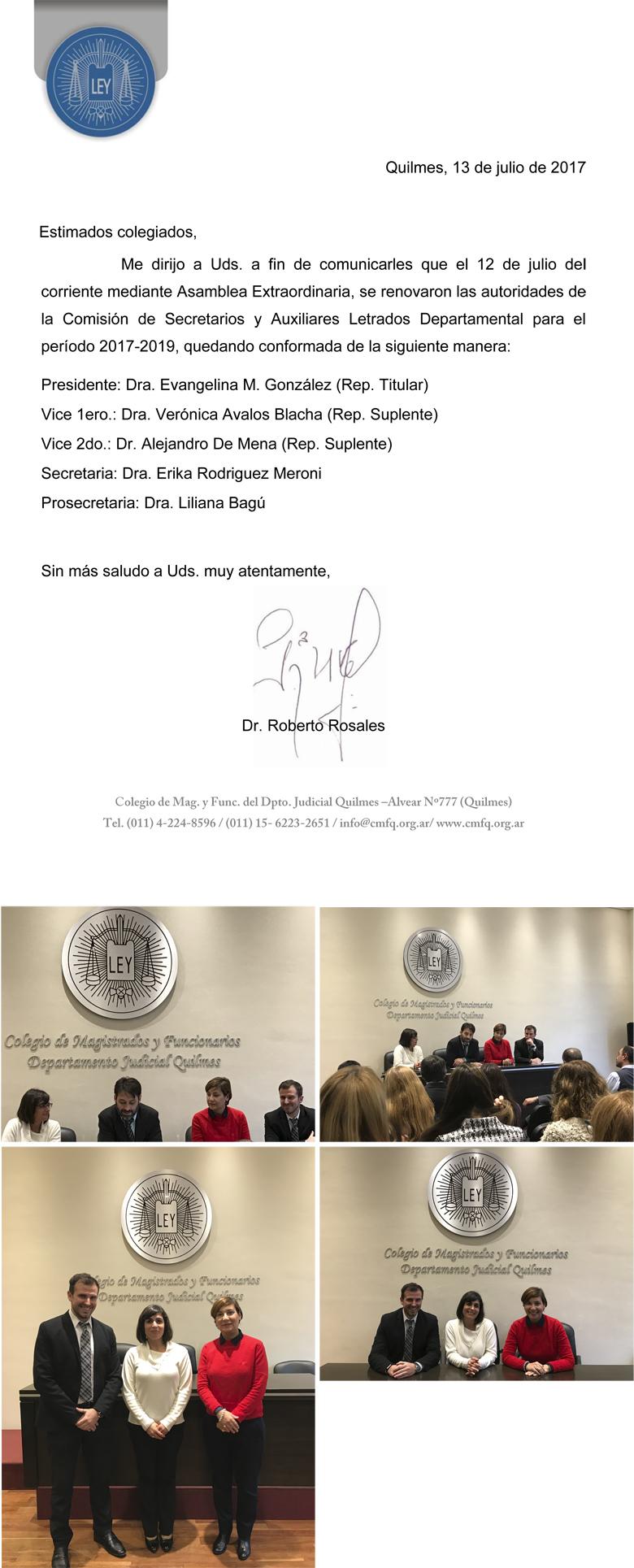 COMISIÓN DE SECRETARIOS Y AUXILIARES LETRADOS DEPARTAMENTAL