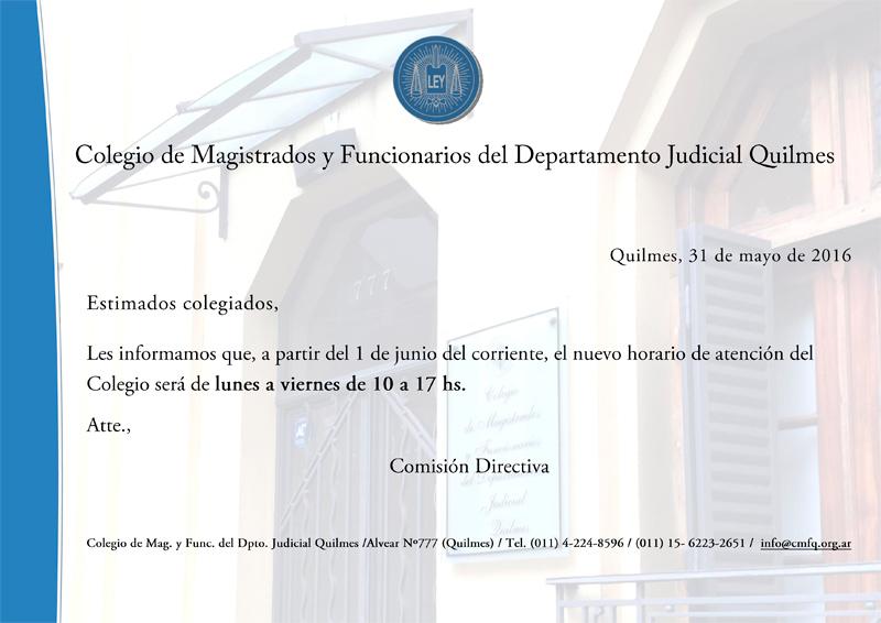 CMFQ - NUEVO HORARIO DE ATENCIÓN