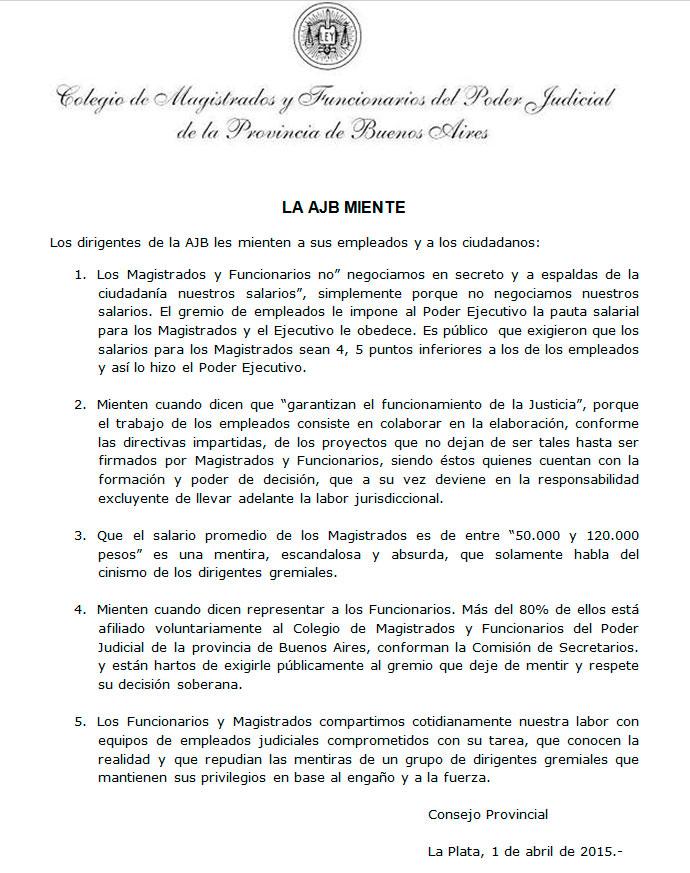 Comunicado de Prensa del Consejo Provincial