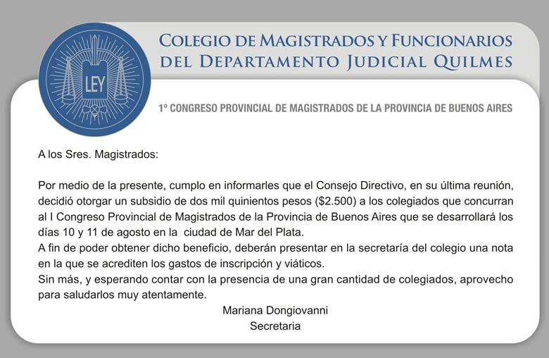 1º CONGRESO PROVINCIAL DE MAGISTRADOS DE LA PCIA. DE BS. AS
