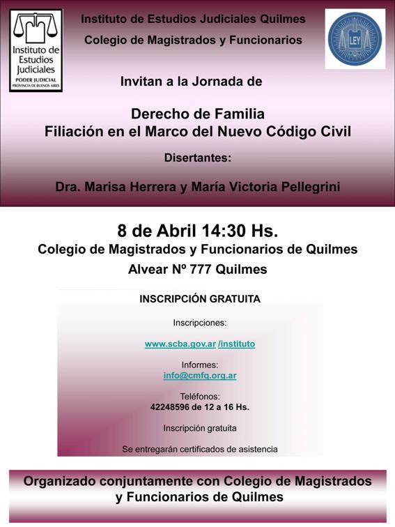 Curso: DERECHO DE FAMILIA : FILIACION EN EL MARCO DEL NUEVO CODIGO CIVIL / 8 DE ABRIL