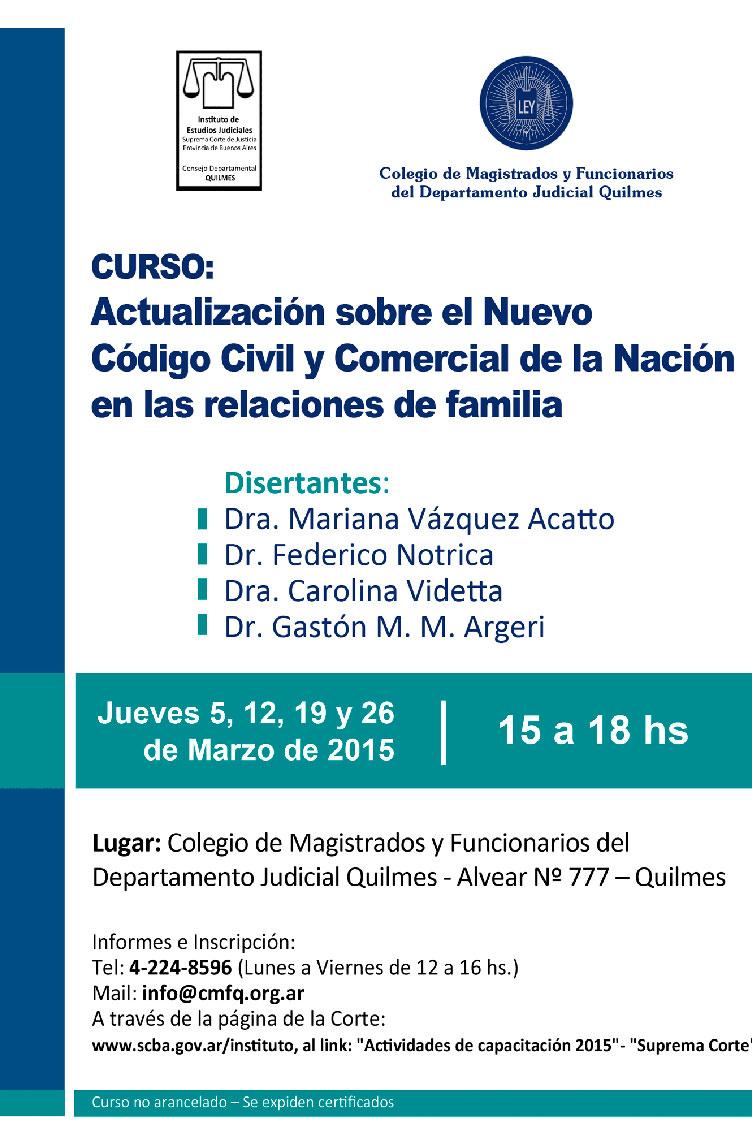 ACTUALIZACION SOBRE EL NUEVO CODIGO CIVIL Y COMERCIAL DE LA NACION EN LAS RELACIONES DE FAMILIA