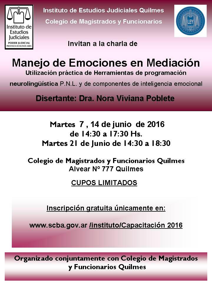 Curso: MANEJO DE EMOCIONES EN MEDIACIÓN - HERRAM. DE PROGRAMACIÓN NEUROLINGÜÍSTICAS P.N.L. Y DE COMPONENTES DE INTELIGENCIA EMOCIONAL