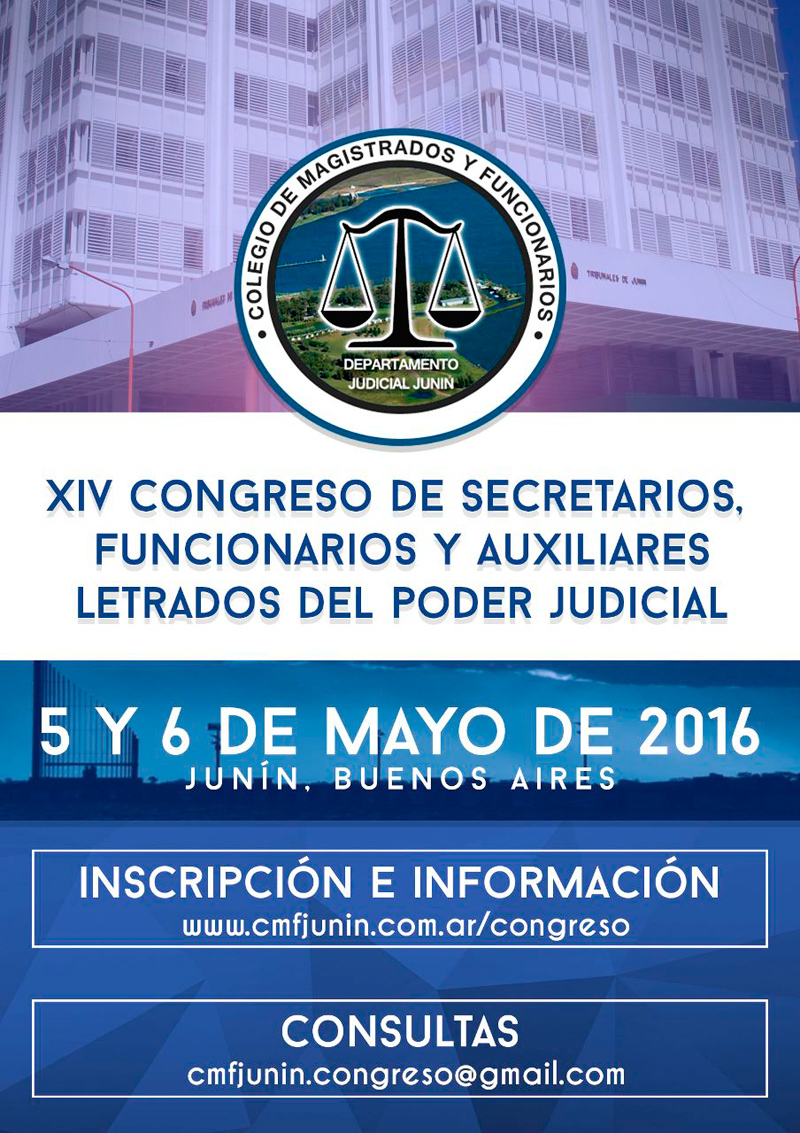XIV Congreso Provincial de Secretarios, Auxiliares Letrados y Funcionarios del Poder Judicial y Ministerio Público