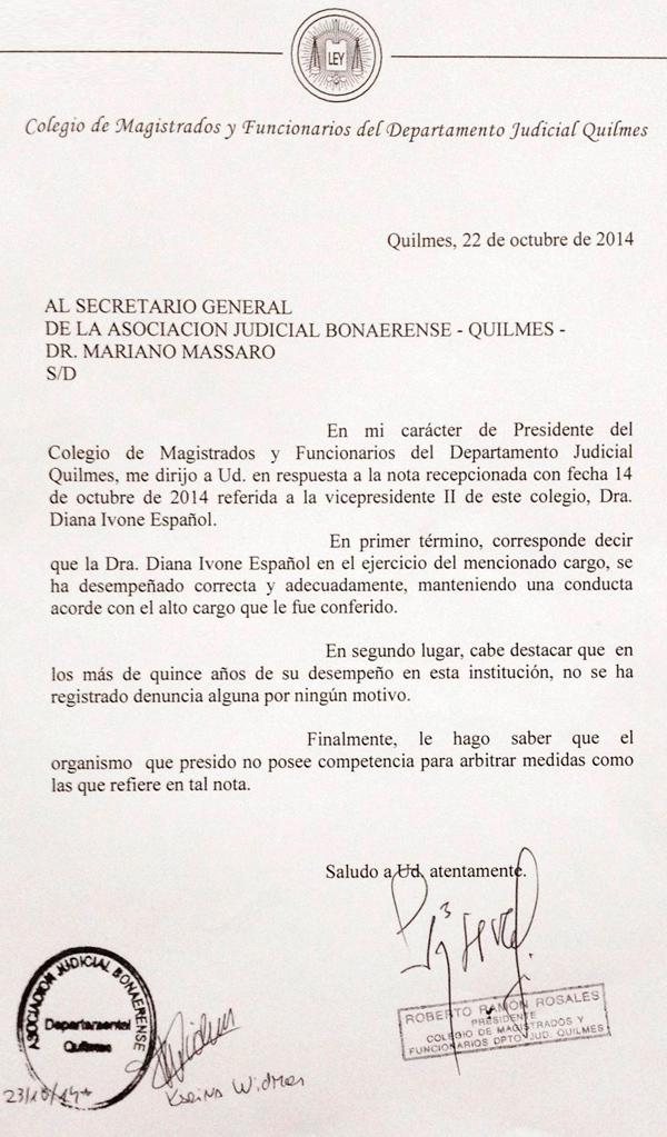 Respuesta a la nota dirigida por la AJB Dptal. Quilmes