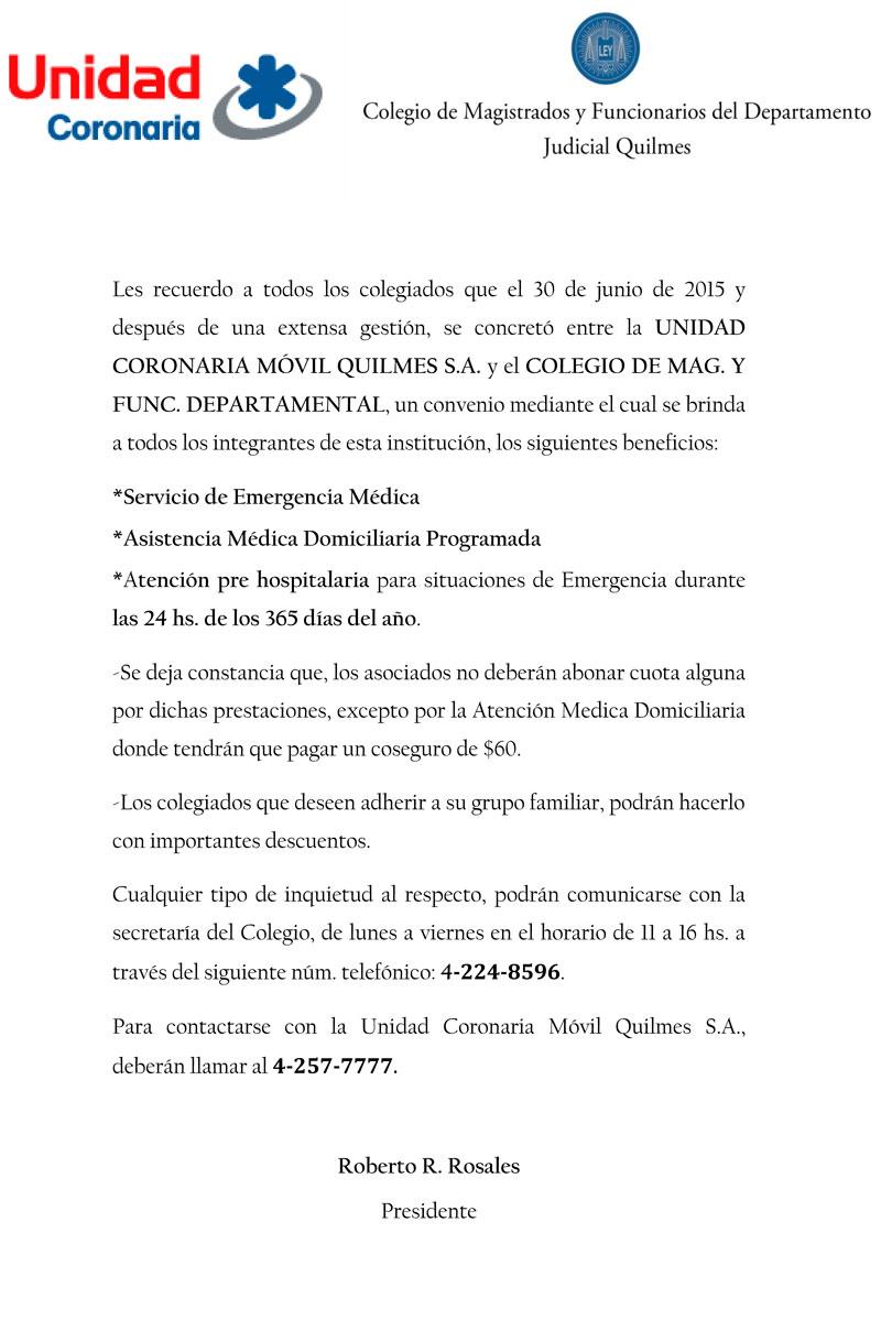 C.M.F.Q. - Convenio con UNIDAD CORONARIA MÓVIL QUILMES S.A. para todos los colegiados