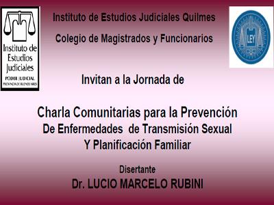 Jornada sobre:  Prevención de enfermedades de transmisión sexual y planificación familiar a cargo el Dr. Lucio Marcelo Rubini