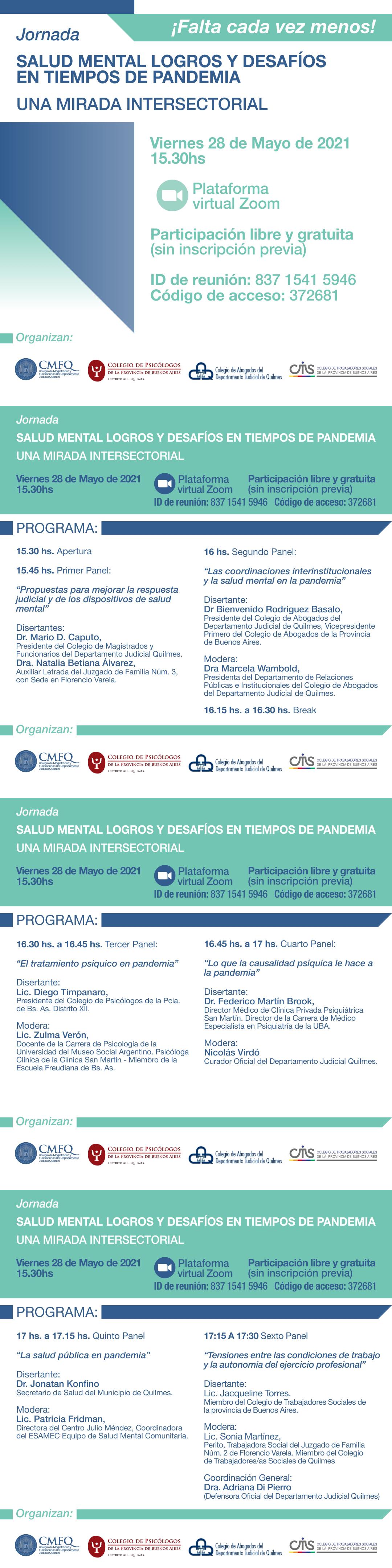 Jornada virtual y gratuita: SALUD MENTAL LOGROS Y DESAFÍOS EN TIEMPOS DE PANDEMIA - UNA MIRADA INTERSECTORIAL