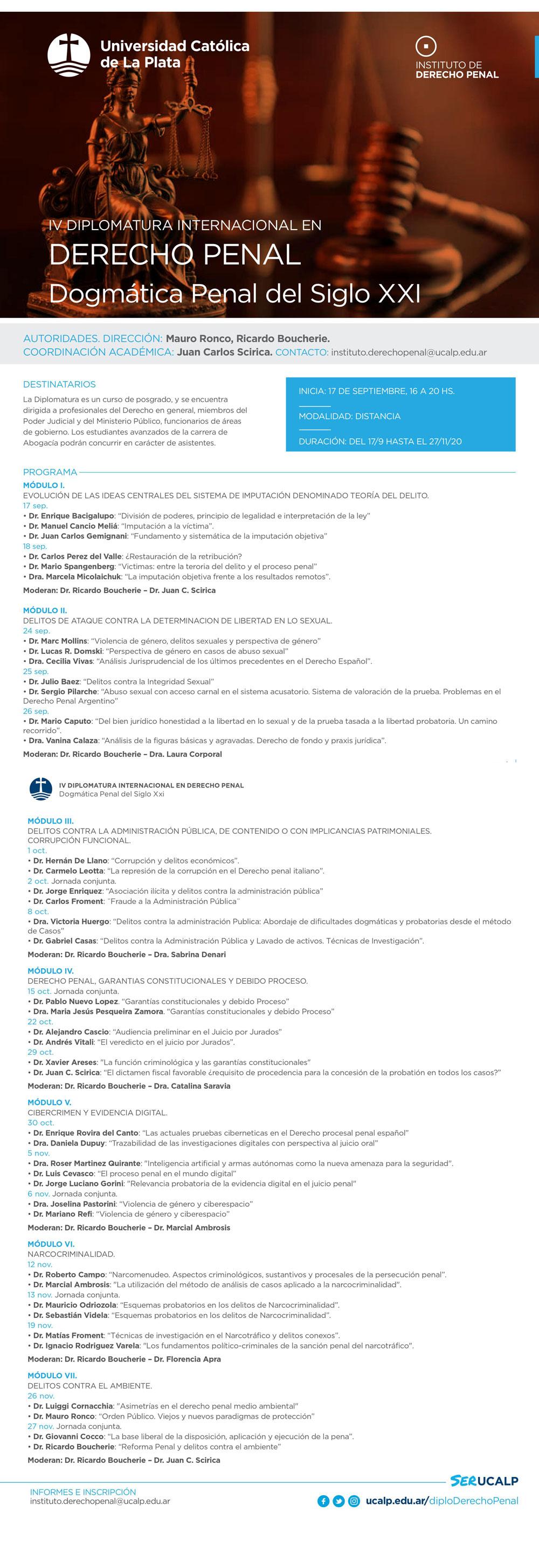 UCALP: IV Diplomatura Internacional de Derecho Penal Dogmática Penal del Siglo XXI