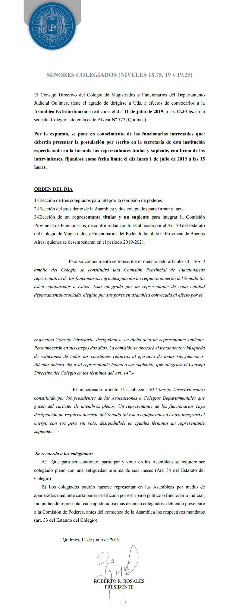 Convocatoria//Asamblea Extraordinaria