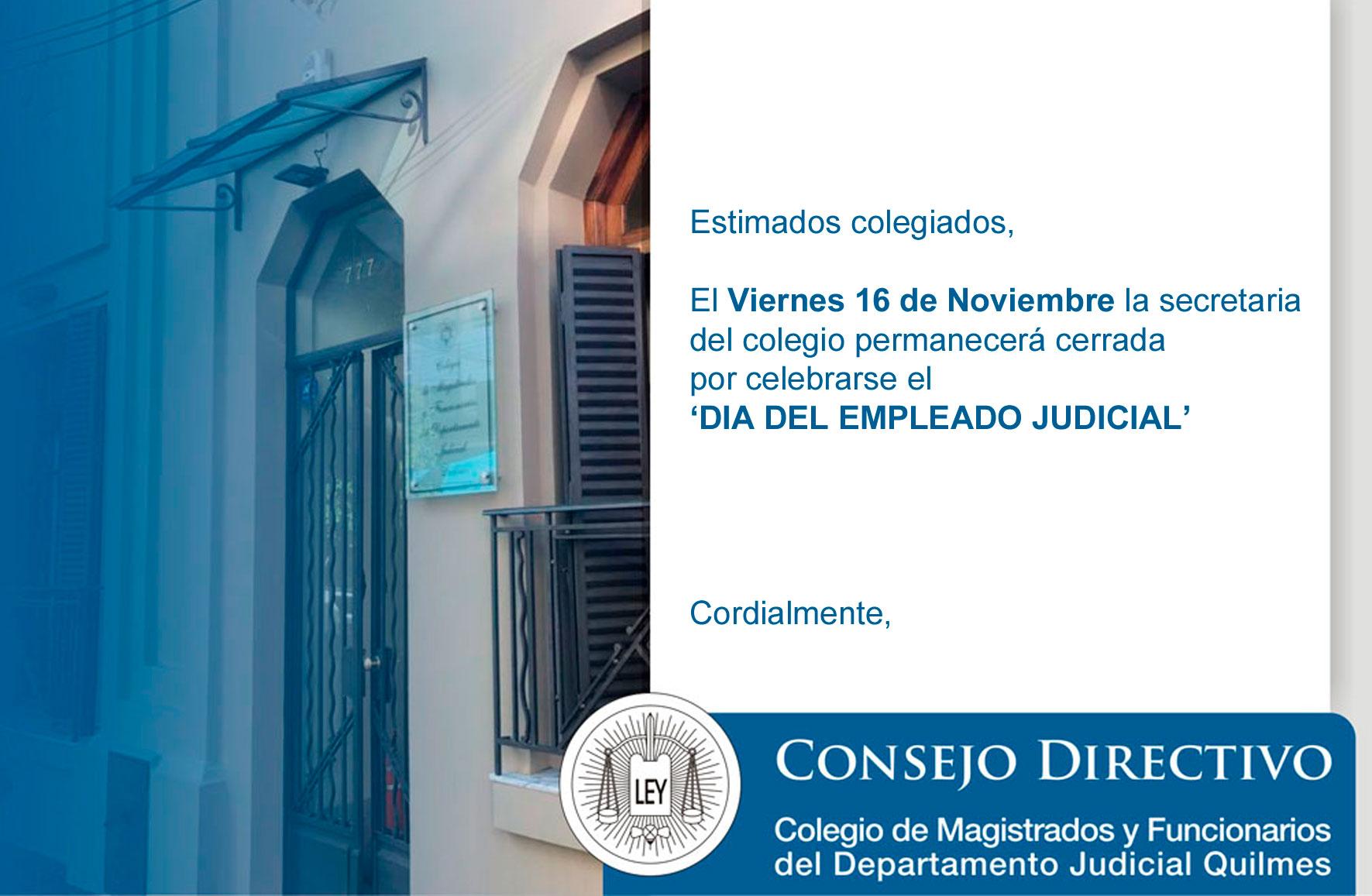 ¡Importante! //Viernes 16-11//Secretaría cerrada