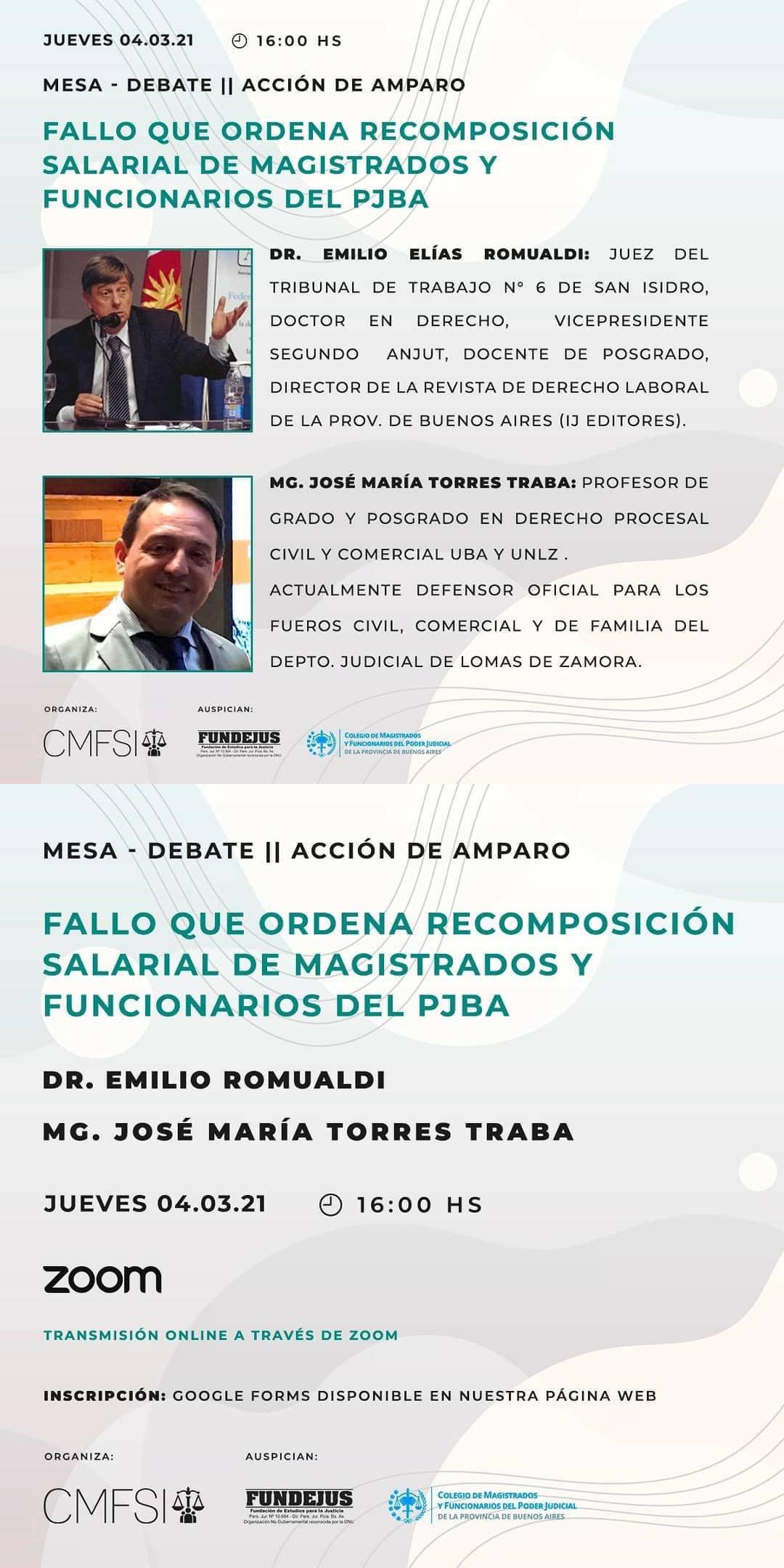 Compartimos actividad del Colegio de Magistrados y Funcionarios de San Isidro (con el auspicio del Colegio Provincial y FUNDEJUS)