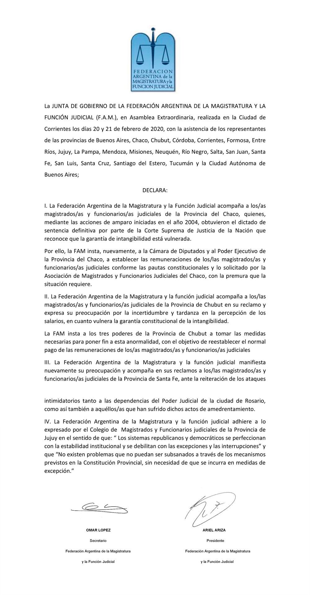 FAM//115° Asamblea Extraordinaria//Celebrada en la Ciudad de Corrientes