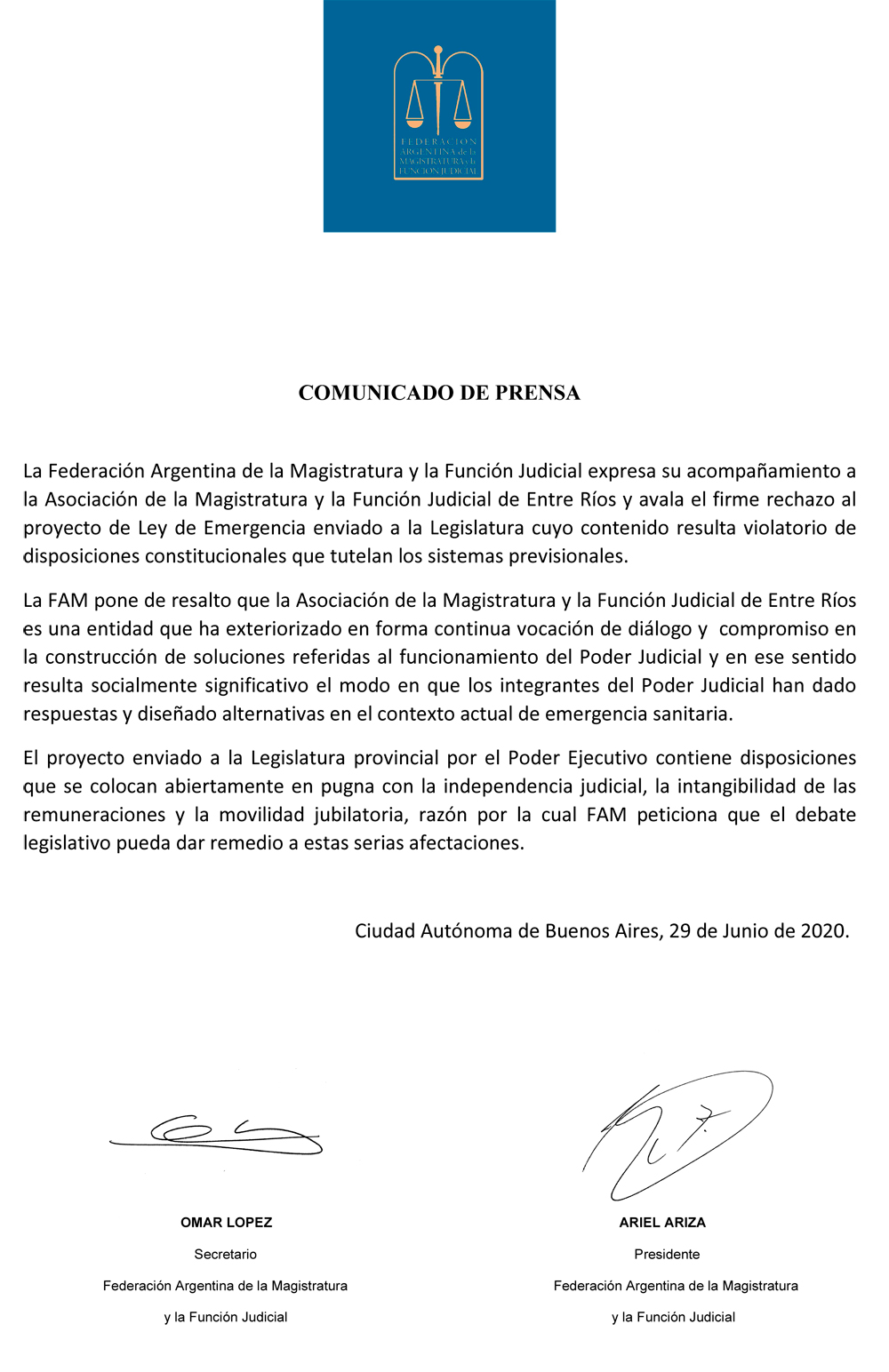 Comunicado de Prensa FAM