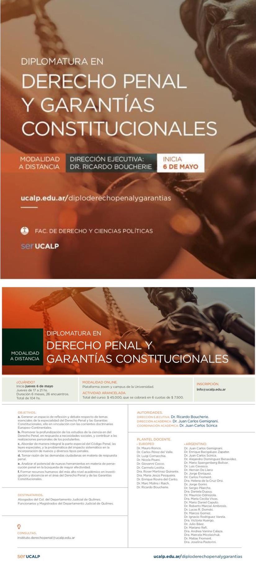 UCALP - DIPLOMATURA EN DERECHO PENAL Y GARANTÍAS CONSTITUCIONALES