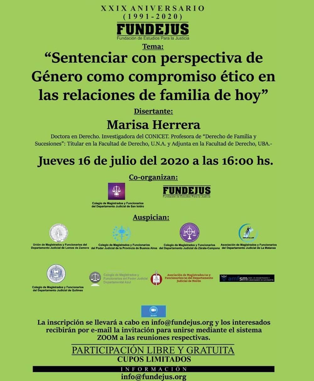 Jornada: Sentenciar con perspectiva de Género como compromiso ético en las relaciones de familia de hoy