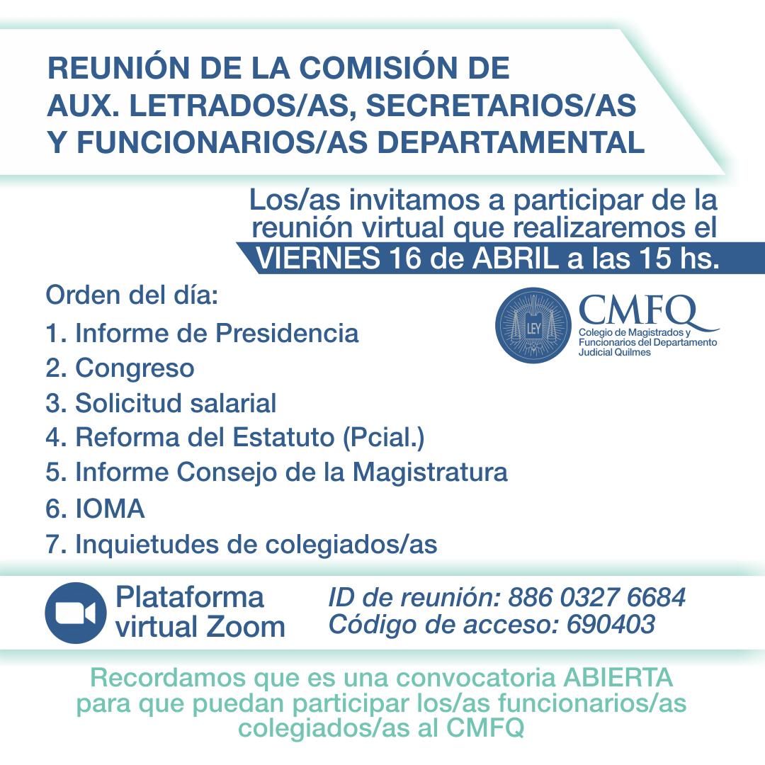 Comisión de Aux. Letrados/as, Secretarios/as y Funcionarios/as Departamental