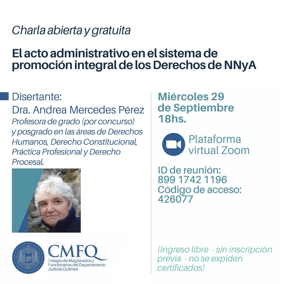Charla gratuita: El acto administrativo en el sistema de promoción integral de los Derechos de NNyA