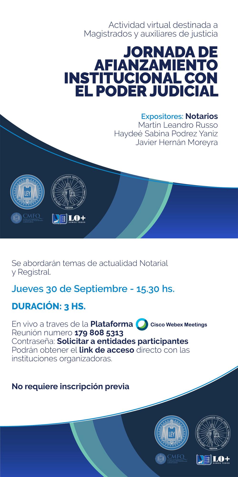 JORNADA GRATUITA DE AFIANZAMIENTO INSTITUCIONAL CON EL PODER JUDICIAL