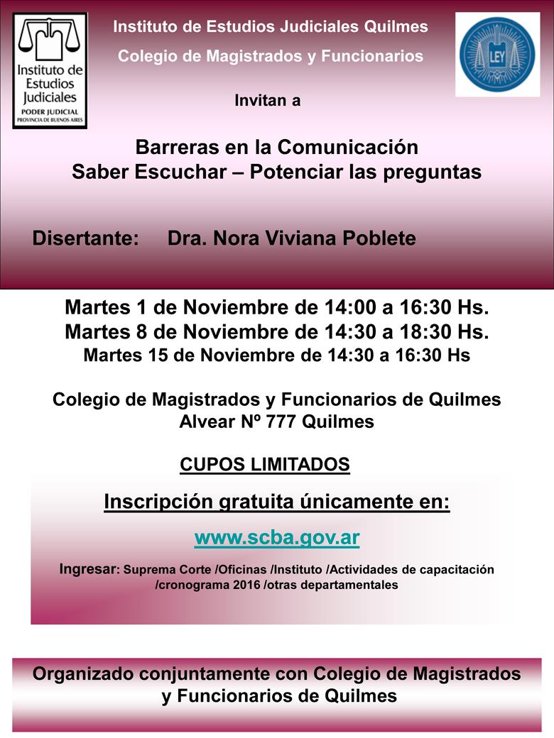 Curso: BARRERAS EN LA COMUNICACION-SABER ESCUCHAR-POTENCIAR LAS PREGUNTAS