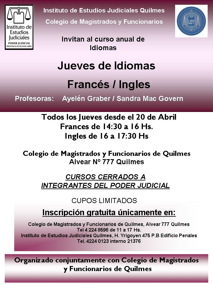 ¡Curso anual de IDIOMAS gratuitos! /FRANCÉS e INGLÉS