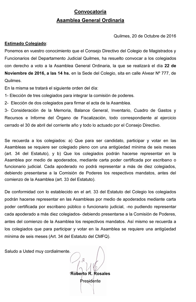 CONVOCATORIA: ASAMBLEA GENERAL ORDINARIA