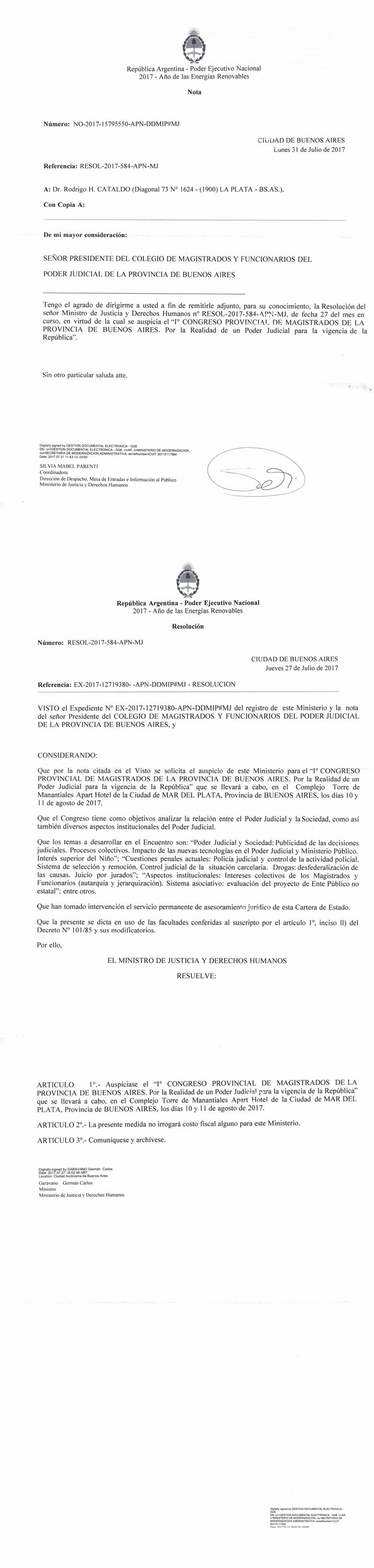Resolución del Ministerio de Justicia y Derechos Humanos auspiciando el 1º Congreso Provincial de Magistrados de la Provincia de Buenos Aires