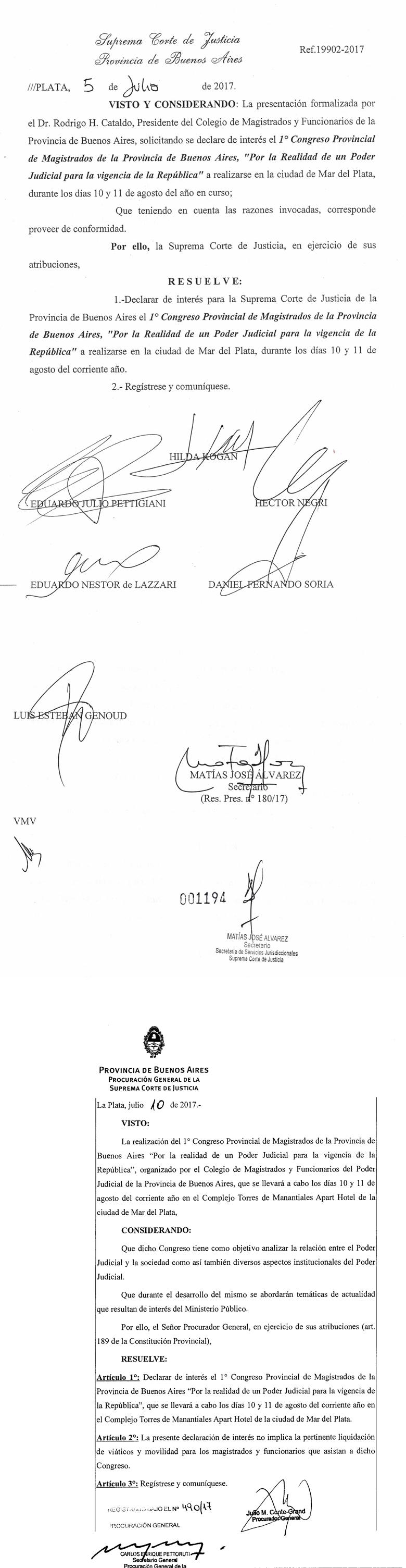 RESOLUCIÓN DECLARACIÓN INTERES SCBA, PROCURACIÓN GENERAL y MINISTERIO DE JUSTICIA DE LA PCIA. DE BS. AS.