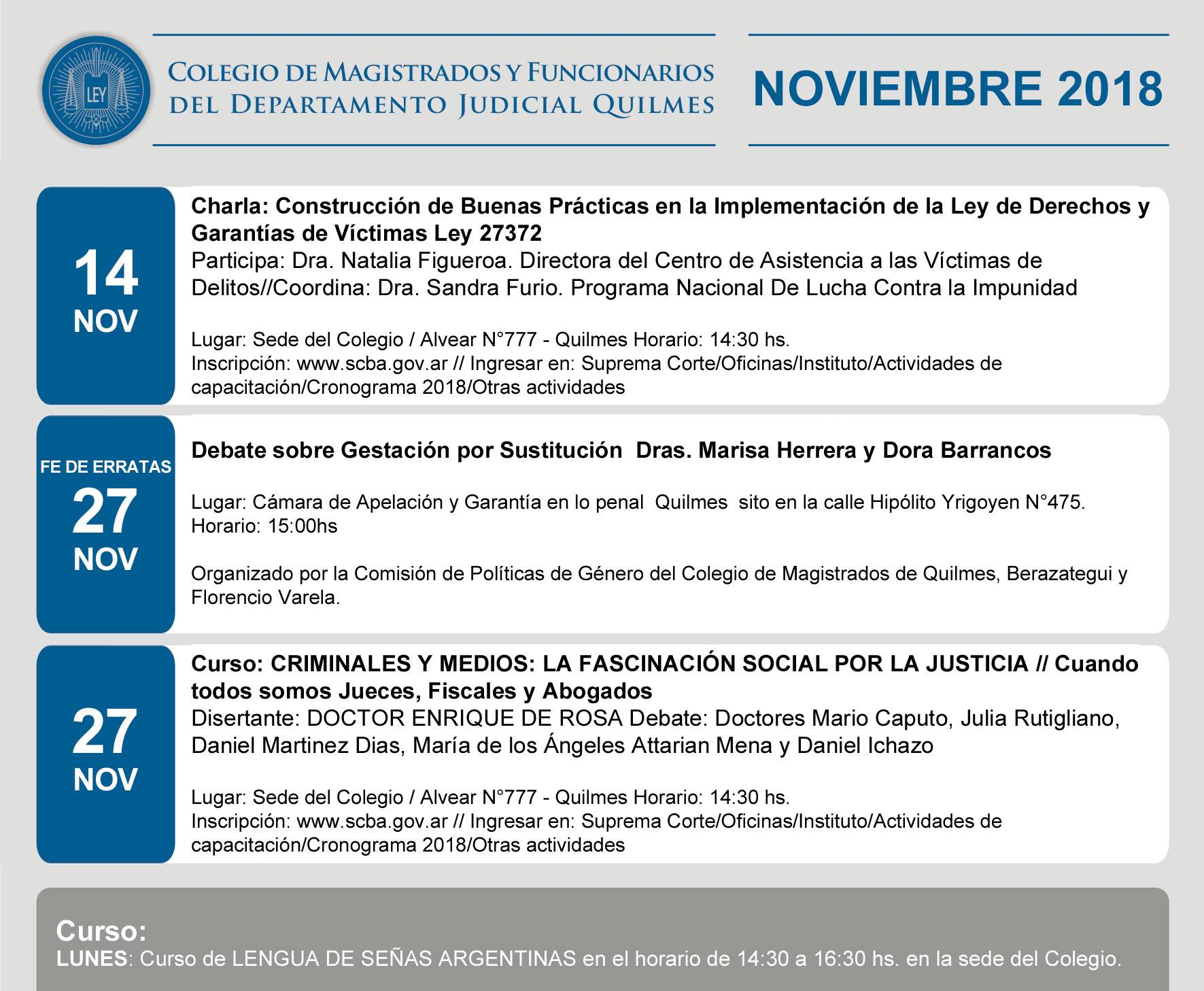 CAPACITACIONES Y CURSOS // NOVIEMBRE 2018