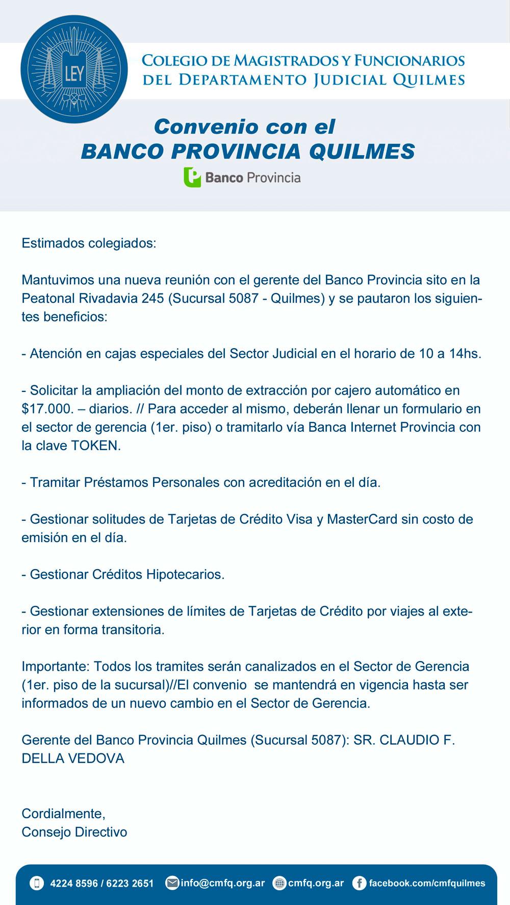 Convenio//BANCO PROVINCIA (Sucursal 5087-Quilmes)