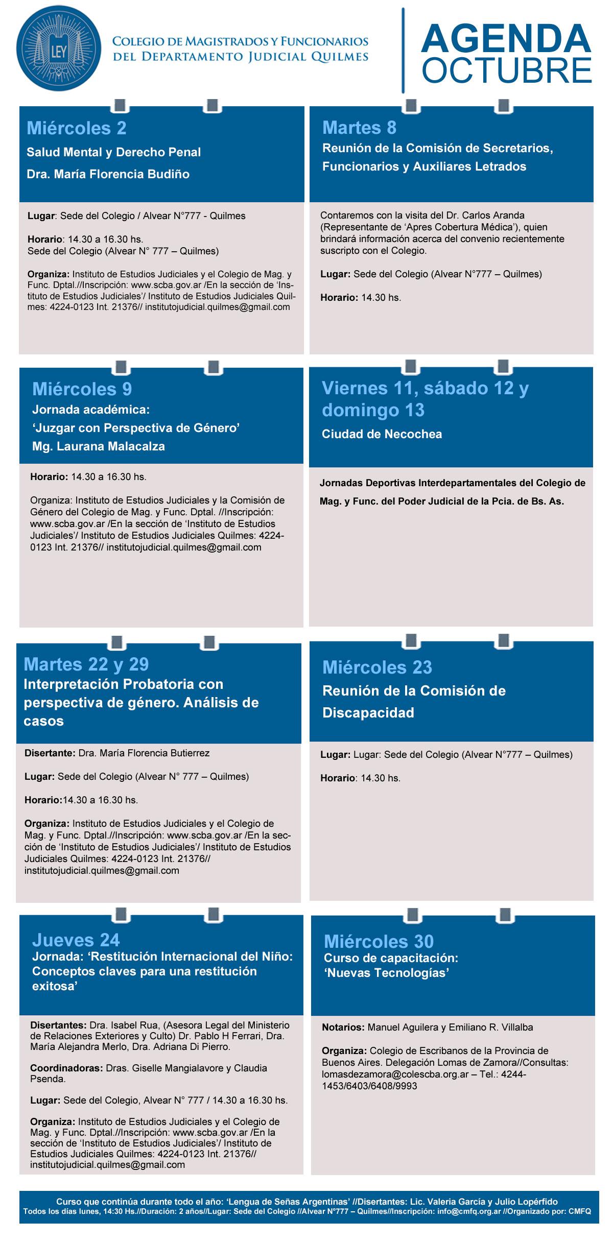 Agenda de actividades//Octubre