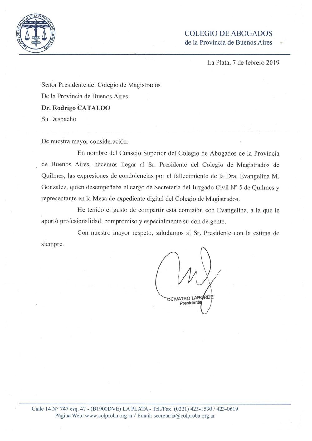 Comunicado del Consejo Superior del Colegio de Abogados por el fallecimiento de la Dra. Evangelina M. González