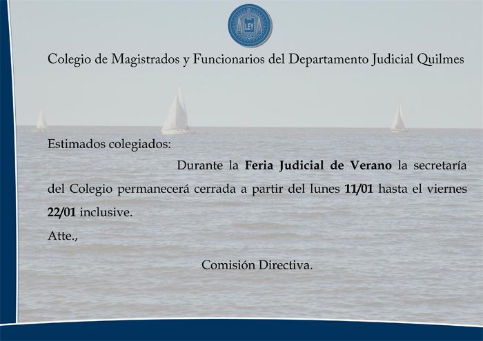 CMFQ - FERIA JUDICIAL DE VERANO