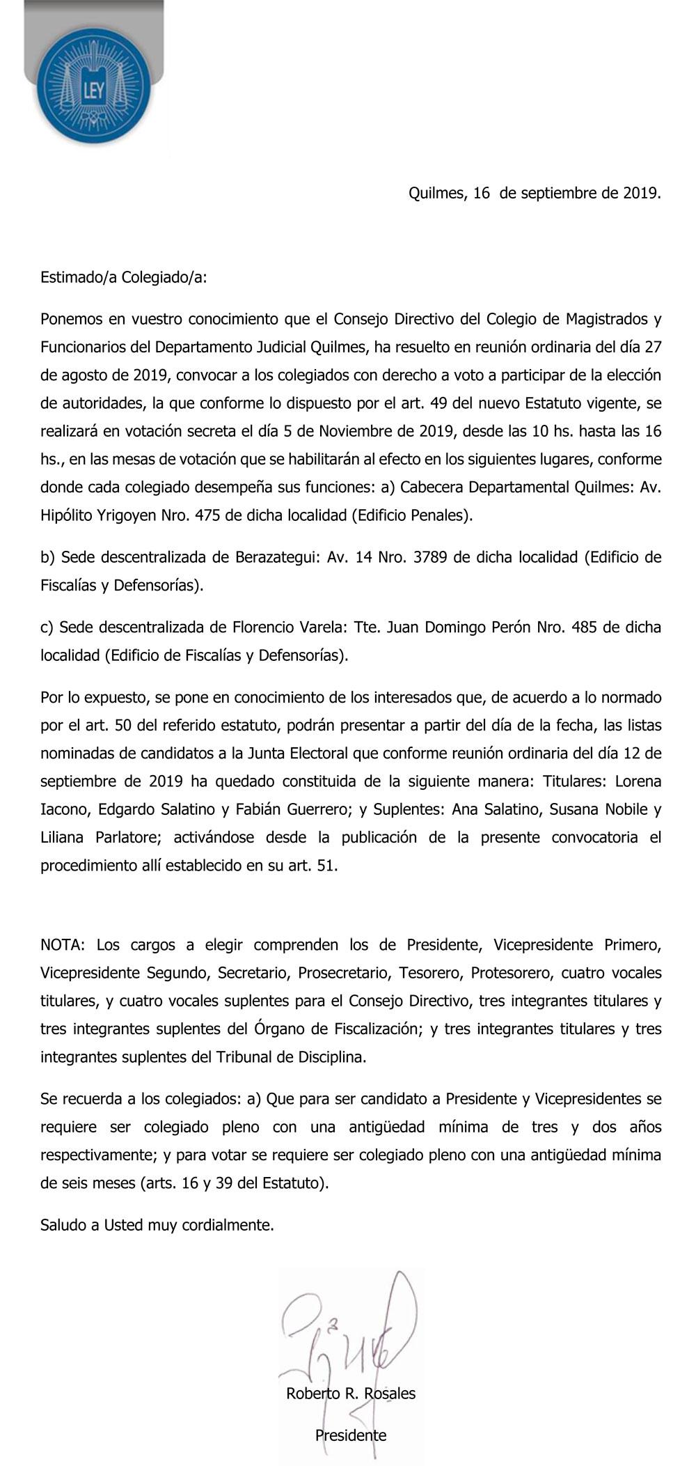 CONVOCATORIA//ELECCION DE AUTORIDADES