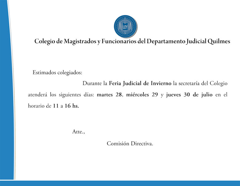 FERIA JUDICIAL DE INVIERNO