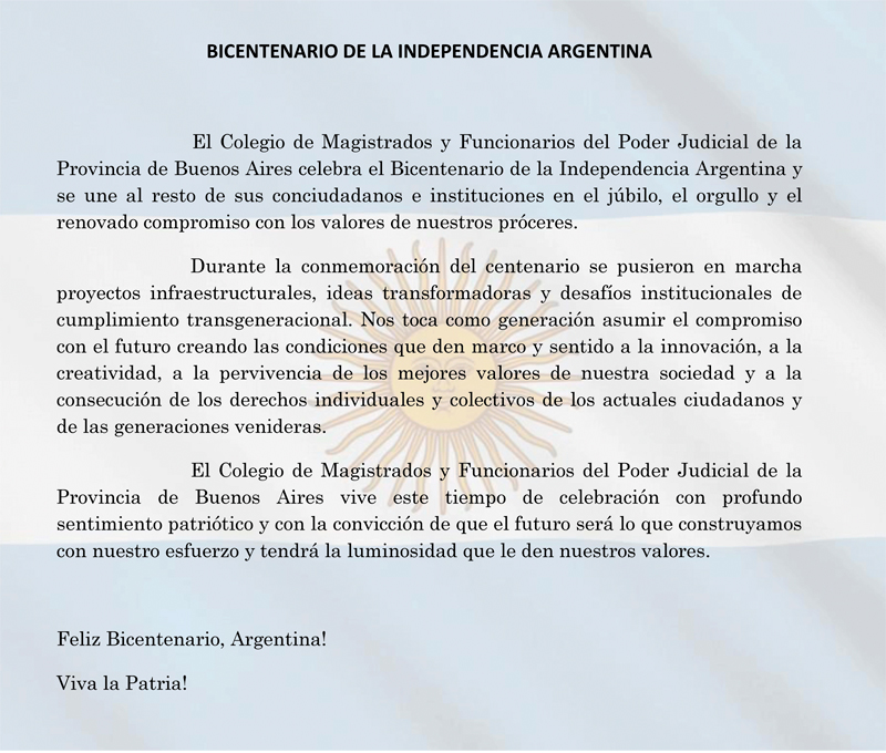 CMFQ - BICENTENARIO DE LA INDEPENDENCIA ARGENTINA