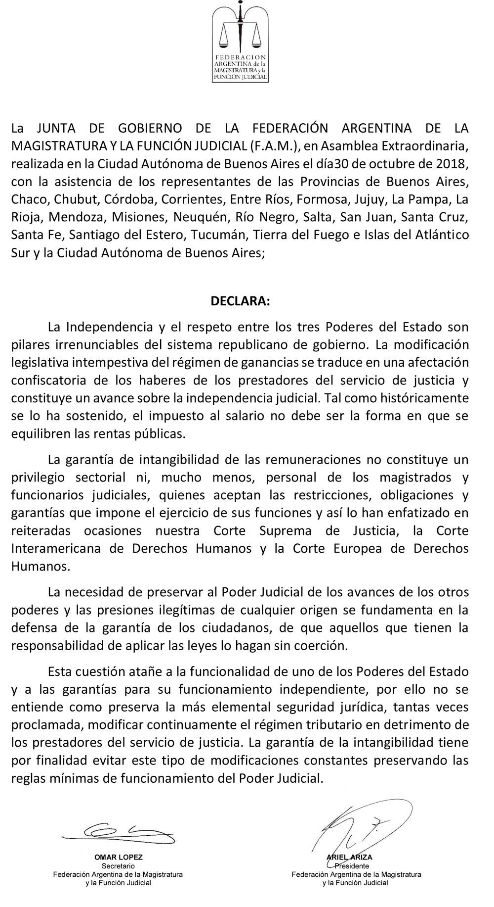 Declaración de Buenos Aires - 107° Asamblea Extraordinaria FAM
