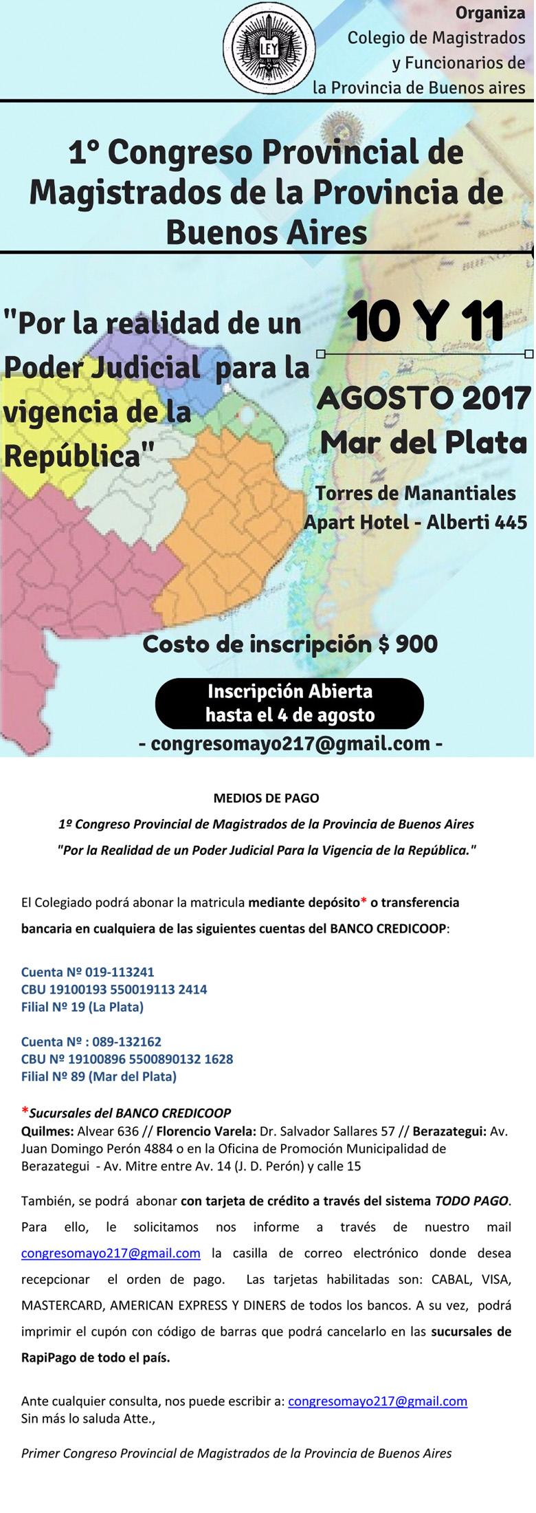 Temario, medios de pago y tarifa de hoteles/1º CONGRESO PROVINCIAL DE MAGISTRADOS DE LA PCIA. DE BS. AS.