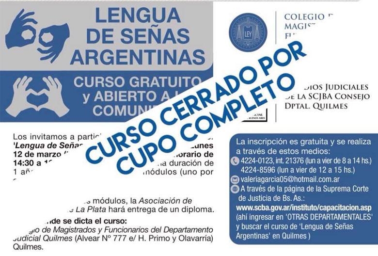 CURSO GRATUITO: LENGUA DE SEÑAS ARGENTINAS 2018