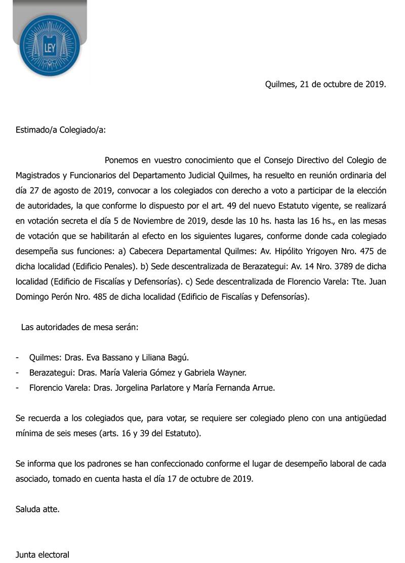Elecciones período 2019-2021
