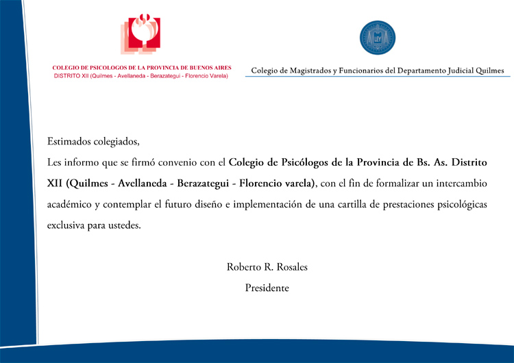 Convenio con el Colegio de Psicólogos de la Provincia de Buenos Aires Distrito XII Quilmes