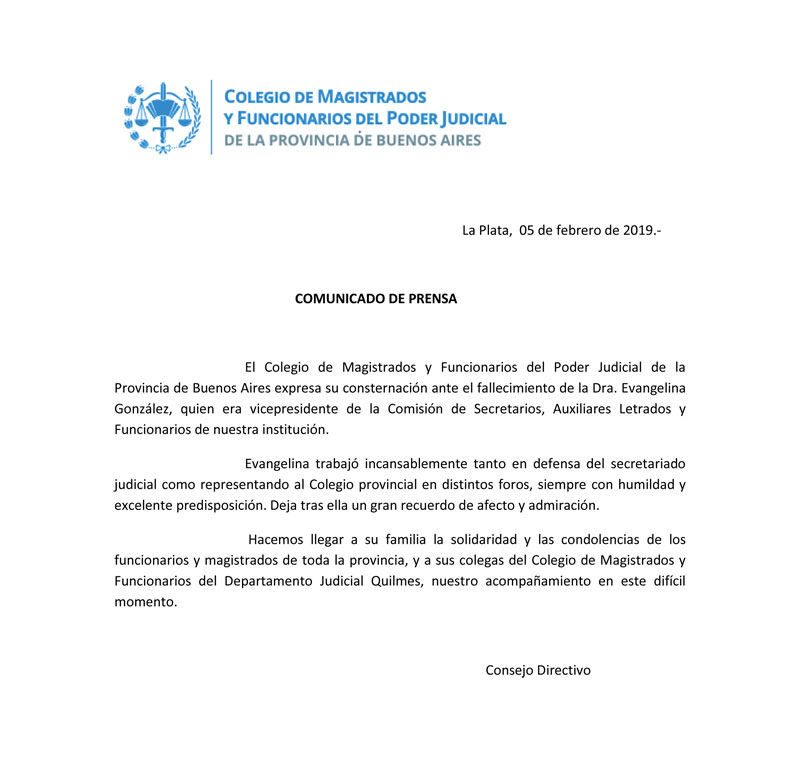 COMUNICADO PCIAL// FALLECIMIENTO Dra. EVANGELINA GONZALEZ